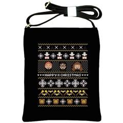 Merry Nerdmas! Ugly Christma Black Background Shoulder Sling Bags