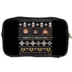 Merry Nerdmas! Ugly Christma Black Background Toiletries Bags 2-Side