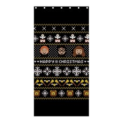 Merry Nerdmas! Ugly Christma Black Background Shower Curtain 36  x 72  (Stall)