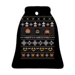 Merry Nerdmas! Ugly Christma Black Background Bell Ornament (Two Sides)