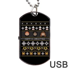 Merry Nerdmas! Ugly Christma Black Background Dog Tag USB Flash (Two Sides)