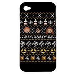 Merry Nerdmas! Ugly Christma Black Background Apple iPhone 4/4S Hardshell Case (PC+Silicone)