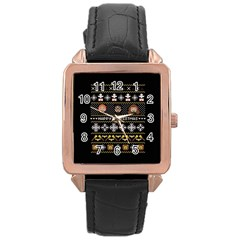 Merry Nerdmas! Ugly Christma Black Background Rose Gold Leather Watch