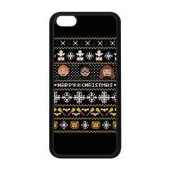 Merry Nerdmas! Ugly Christma Black Background Apple iPhone 5C Seamless Case (Black)