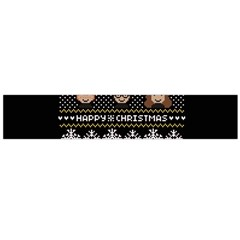 Merry Nerdmas! Ugly Christma Black Background Flano Scarf (Large)