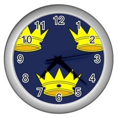 Flag of Irish Province of Munster Wall Clocks (Silver)