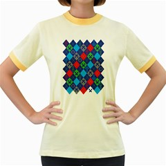 Minecraft Ugly Holiday Christmas Women s Fitted Ringer T-Shirts