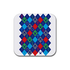 Minecraft Ugly Holiday Christmas Rubber Square Coaster (4 pack)