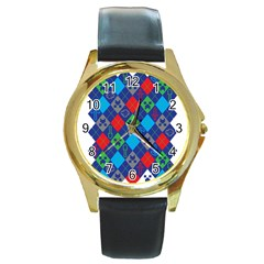 Minecraft Ugly Holiday Christmas Round Gold Metal Watch