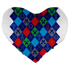 Minecraft Ugly Holiday Christmas Large 19  Premium Heart Shape Cushions