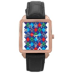 Minecraft Ugly Holiday Christmas Rose Gold Leather Watch