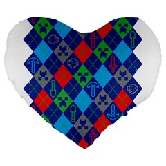 Minecraft Ugly Holiday Christmas Large 19  Premium Flano Heart Shape Cushions