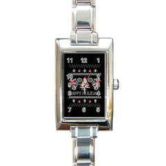 Motorcycle Santa Happy Holidays Ugly Christmas Black Background Rectangle Italian Charm Watch