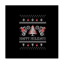 Motorcycle Santa Happy Holidays Ugly Christmas Black Background Tile Coasters