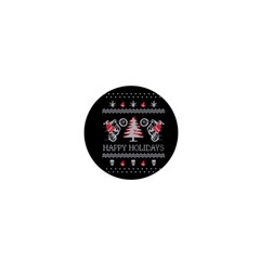 Motorcycle Santa Happy Holidays Ugly Christmas Black Background 1  Mini Buttons