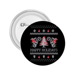 Motorcycle Santa Happy Holidays Ugly Christmas Black Background 2.25  Buttons
