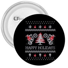 Motorcycle Santa Happy Holidays Ugly Christmas Black Background 3  Buttons