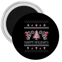 Motorcycle Santa Happy Holidays Ugly Christmas Black Background 3  Magnets