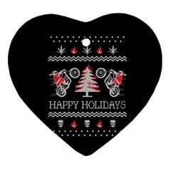 Motorcycle Santa Happy Holidays Ugly Christmas Black Background Ornament (Heart)