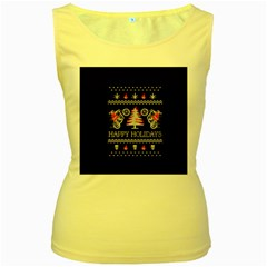 Motorcycle Santa Happy Holidays Ugly Christmas Black Background Women s Yellow Tank Top