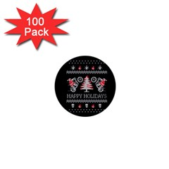 Motorcycle Santa Happy Holidays Ugly Christmas Black Background 1  Mini Buttons (100 pack)