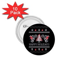 Motorcycle Santa Happy Holidays Ugly Christmas Black Background 1 75  Buttons (10 Pack)