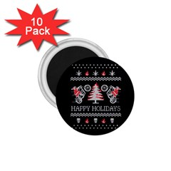 Motorcycle Santa Happy Holidays Ugly Christmas Black Background 1.75  Magnets (10 pack)