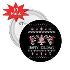 Motorcycle Santa Happy Holidays Ugly Christmas Black Background 2.25  Buttons (10 pack)