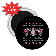 Motorcycle Santa Happy Holidays Ugly Christmas Black Background 2.25  Magnets (10 pack)
