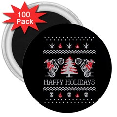 Motorcycle Santa Happy Holidays Ugly Christmas Black Background 3  Magnets (100 pack)