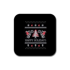 Motorcycle Santa Happy Holidays Ugly Christmas Black Background Rubber Square Coaster (4 pack)