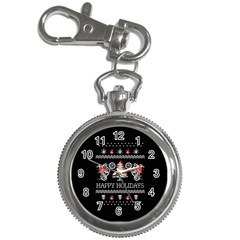 Motorcycle Santa Happy Holidays Ugly Christmas Black Background Key Chain Watches