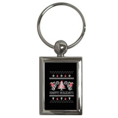 Motorcycle Santa Happy Holidays Ugly Christmas Black Background Key Chains (Rectangle)