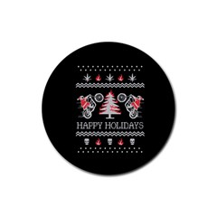 Motorcycle Santa Happy Holidays Ugly Christmas Black Background Rubber Round Coaster (4 pack)