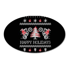 Motorcycle Santa Happy Holidays Ugly Christmas Black Background Oval Magnet