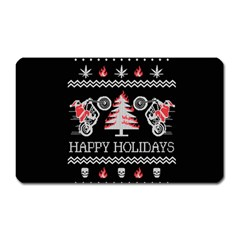 Motorcycle Santa Happy Holidays Ugly Christmas Black Background Magnet (Rectangular)