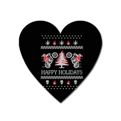 Motorcycle Santa Happy Holidays Ugly Christmas Black Background Heart Magnet
