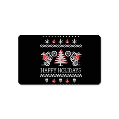 Motorcycle Santa Happy Holidays Ugly Christmas Black Background Magnet (Name Card)