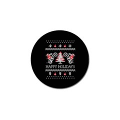 Motorcycle Santa Happy Holidays Ugly Christmas Black Background Golf Ball Marker