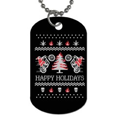 Motorcycle Santa Happy Holidays Ugly Christmas Black Background Dog Tag (Two Sides)
