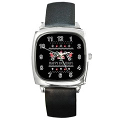 Motorcycle Santa Happy Holidays Ugly Christmas Black Background Square Metal Watch