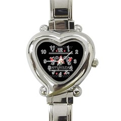 Motorcycle Santa Happy Holidays Ugly Christmas Black Background Heart Italian Charm Watch