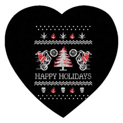Motorcycle Santa Happy Holidays Ugly Christmas Black Background Jigsaw Puzzle (Heart)