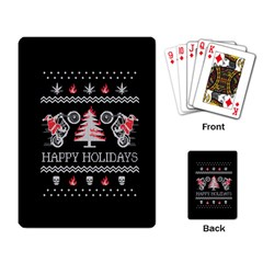 Motorcycle Santa Happy Holidays Ugly Christmas Black Background Playing Card