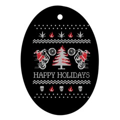 Motorcycle Santa Happy Holidays Ugly Christmas Black Background Oval Ornament (Two Sides)
