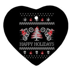 Motorcycle Santa Happy Holidays Ugly Christmas Black Background Heart Ornament (Two Sides)
