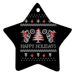 Motorcycle Santa Happy Holidays Ugly Christmas Black Background Star Ornament (Two Sides)
