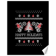 Motorcycle Santa Happy Holidays Ugly Christmas Black Background Canvas 12  x 16