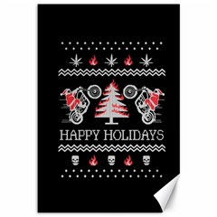 Motorcycle Santa Happy Holidays Ugly Christmas Black Background Canvas 12  x 18