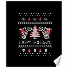 Motorcycle Santa Happy Holidays Ugly Christmas Black Background Canvas 20  x 24